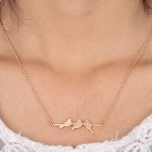 New Arrival Birds on Branch Dainty Gold Necklace.
